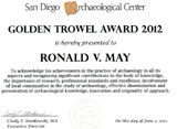 Golden Trowel Award for Lifetime Achievement - Ronald V. May, June 2, 2012